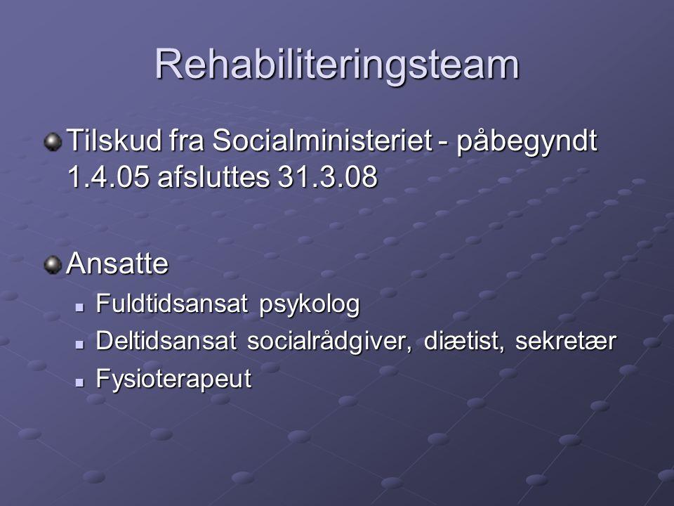 Rehabiliteringsteam Tilskud fra Socialministeriet - påbegyndt 1.4.05 afsluttes 31.3.08. Ansatte. Fuldtidsansat psykolog.