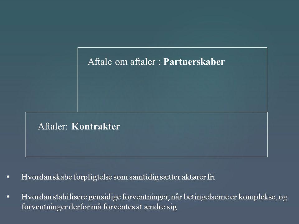 Aftale om aftaler : Partnerskaber