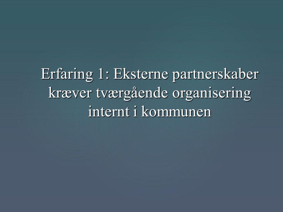 Erfaring 1: Eksterne partnerskaber kræver tværgående organisering internt i kommunen