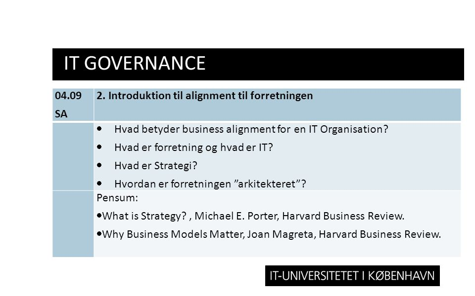 IT GOVERNANCE 04.09 SA 2. Introduktion til alignment til forretningen