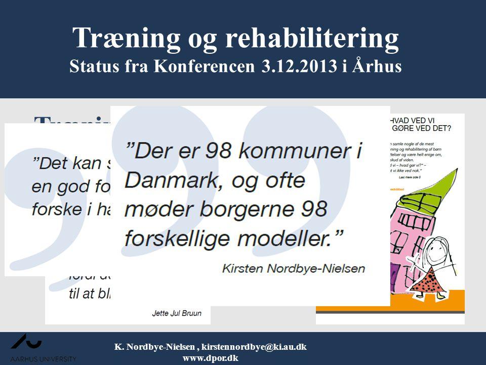 Træning og rehabilitering Status fra Konferencen 3.12.2013 i Århus