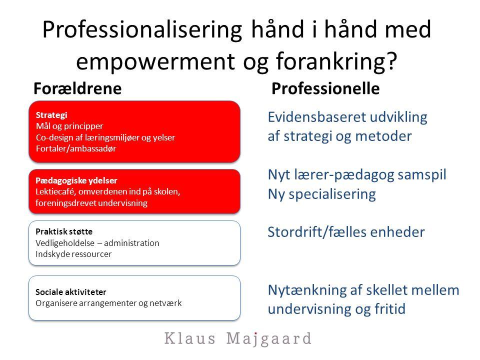 Professionalisering hånd i hånd med empowerment og forankring