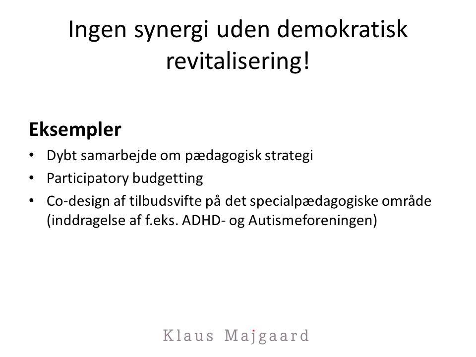Ingen synergi uden demokratisk revitalisering!