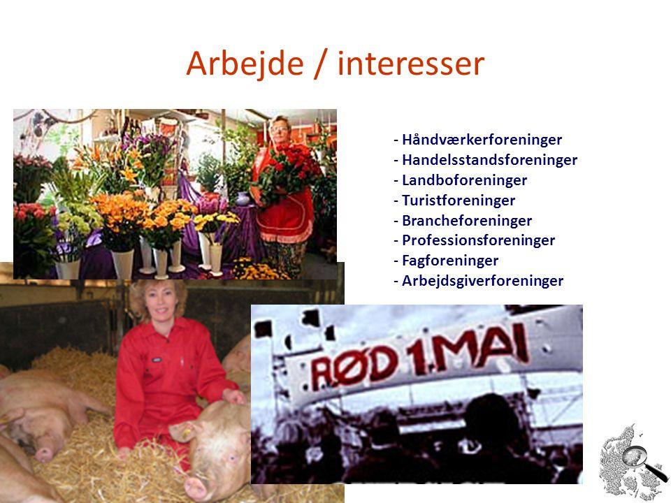 Arbejde / interesser Håndværkerforeninger Handelsstandsforeninger