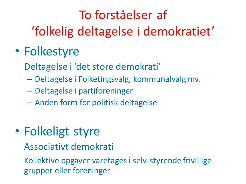 To forståelser af 'folkelig deltagelse i demokratiet'
