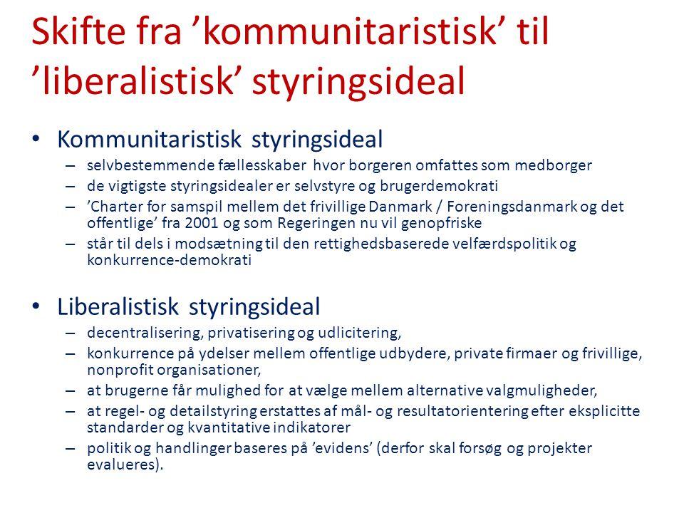 Skifte fra 'kommunitaristisk' til 'liberalistisk' styringsideal