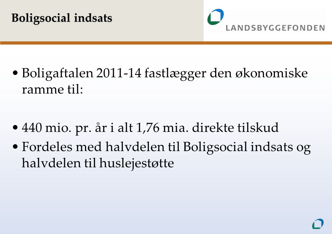 Boligaftalen 2011-14 fastlægger den økonomiske ramme til: