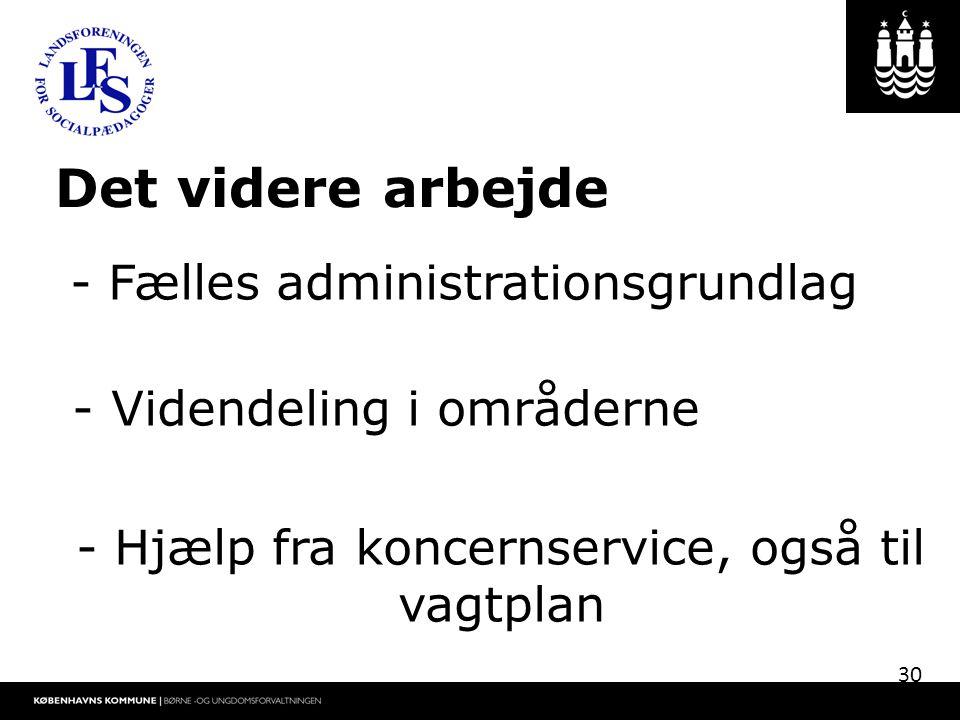 Det videre arbejde - Fælles administrationsgrundlag - Videndeling i områderne - Hjælp fra koncernservice, også til vagtplan