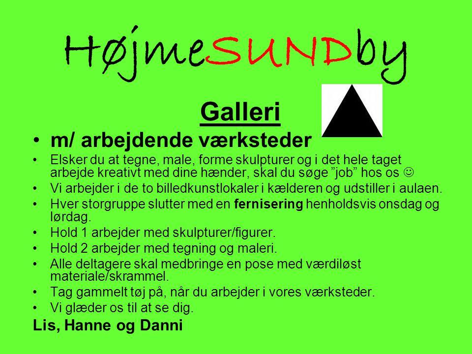 HøjmeSUNDby Galleri m/ arbejdende værksteder Lis, Hanne og Danni