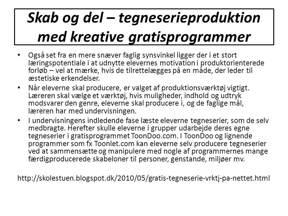 Skab og del – tegneserieproduktion med kreative gratisprogrammer