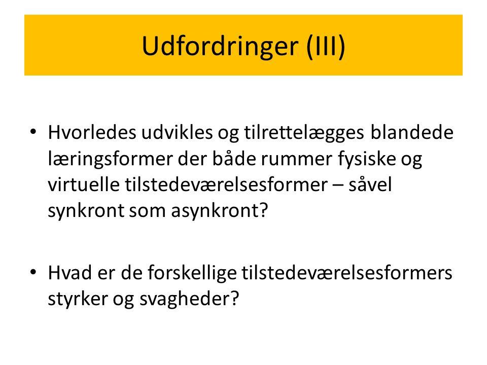 Udfordringer (III)
