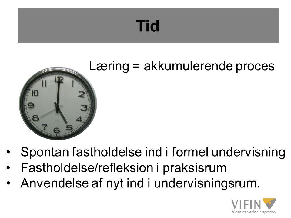 Tid Læring = akkumulerende proces