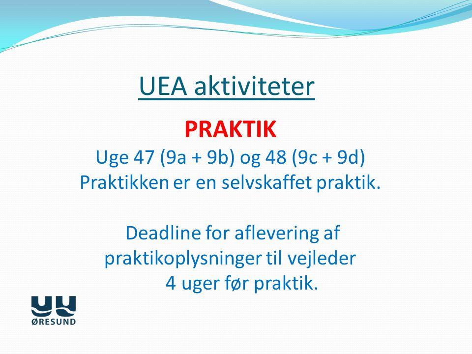 UEA aktiviteter PRAKTIK Uge 47 (9a + 9b) og 48 (9c + 9d)