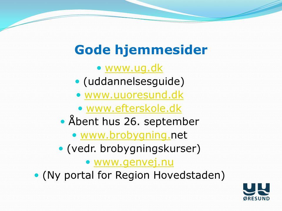Gode hjemmesider www.ug.dk (uddannelsesguide) www.uuoresund.dk