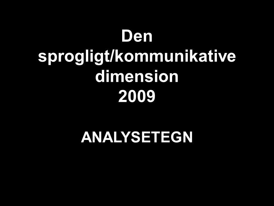 Den sprogligt/kommunikative dimension 2009