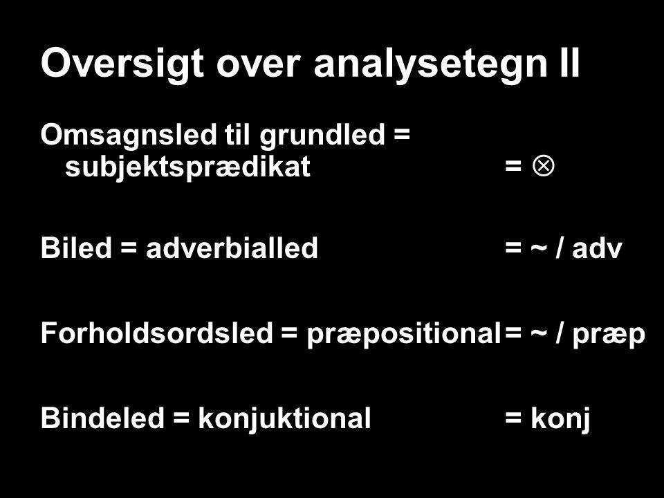 Oversigt over analysetegn II