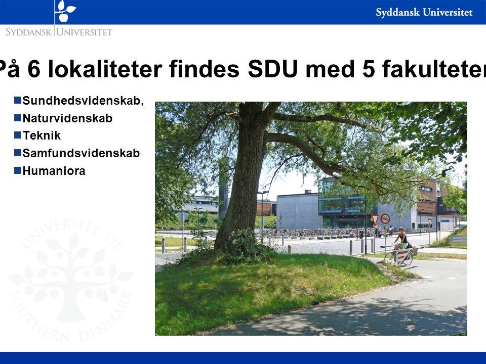 På 6 lokaliteter findes SDU med 5 fakulteter