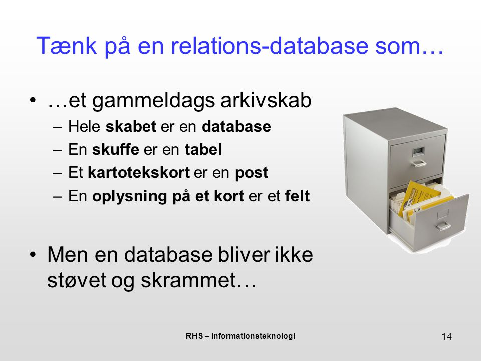 Tænk på en relations-database som…
