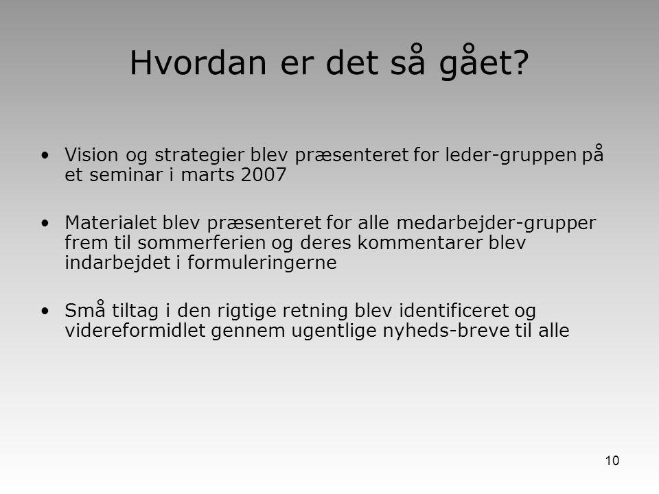Hvordan er det så gået Vision og strategier blev præsenteret for leder-gruppen på et seminar i marts 2007.