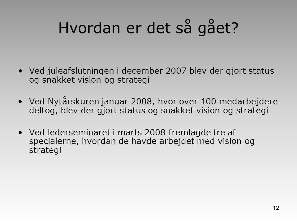 Hvordan er det så gået Ved juleafslutningen i december 2007 blev der gjort status og snakket vision og strategi.