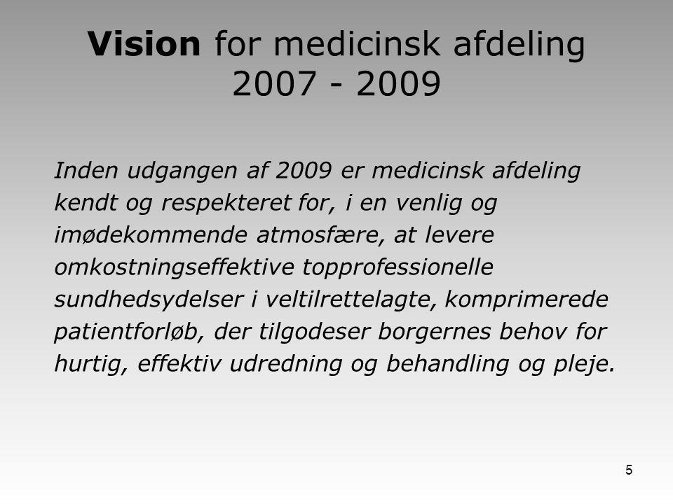 Vision for medicinsk afdeling 2007 - 2009