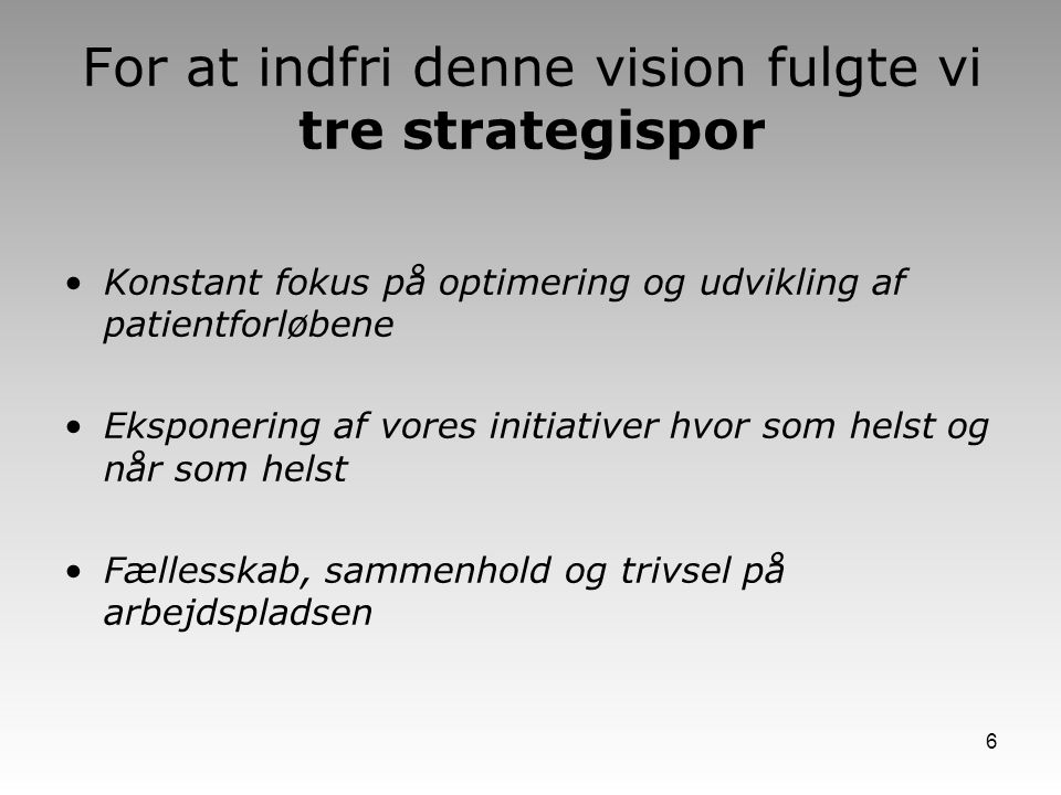 For at indfri denne vision fulgte vi tre strategispor