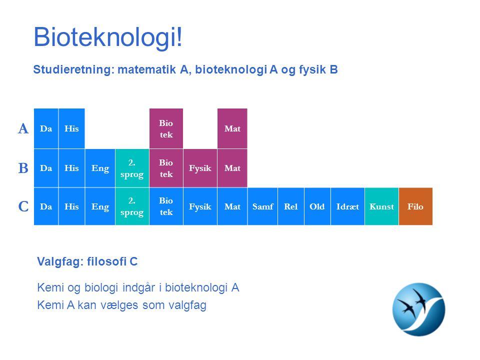 Bioteknologi! Studieretning: matematik A, bioteknologi A og fysik B. A. Da. His. Eng. Spa. Bio tek.