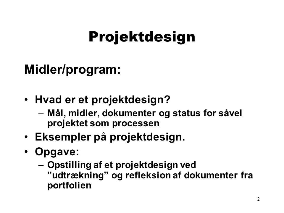 Projektdesign Midler/program: Hvad er et projektdesign