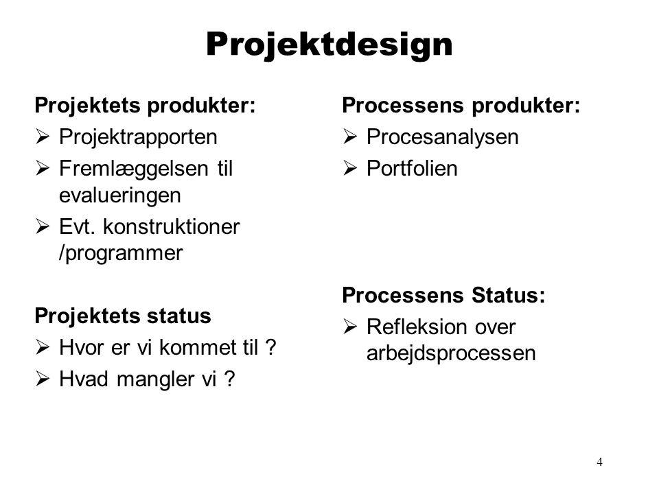 Projektdesign Projektets produkter: Projektrapporten
