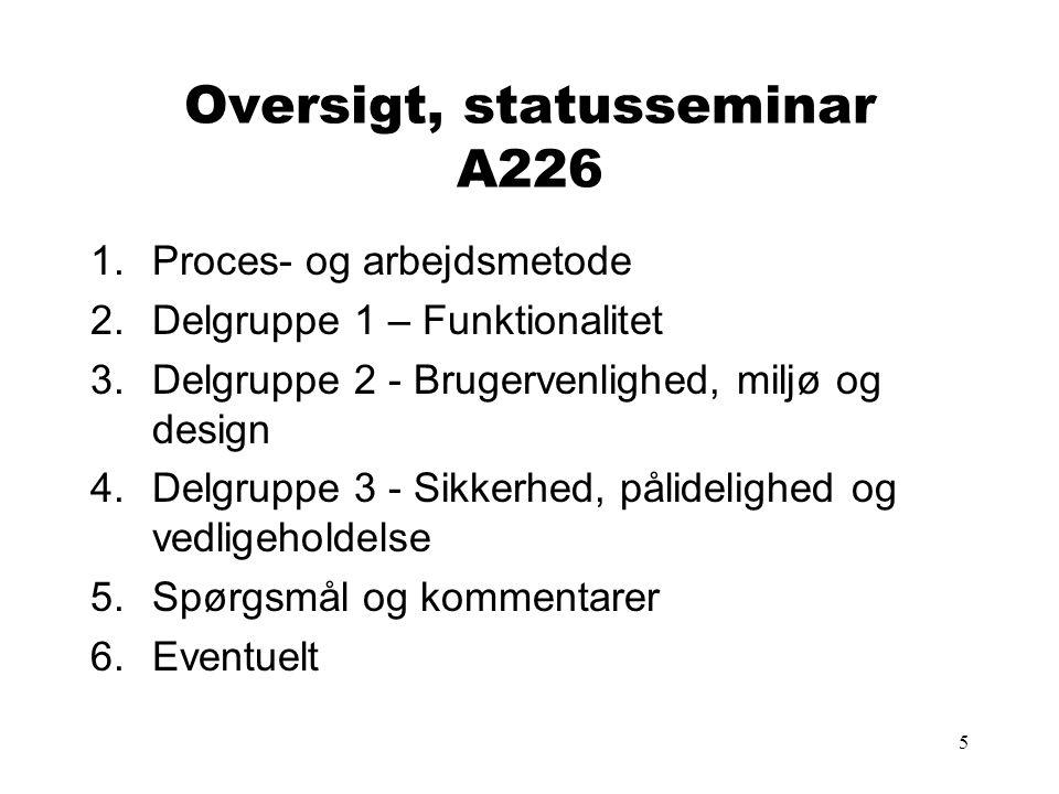 Oversigt, statusseminar A226