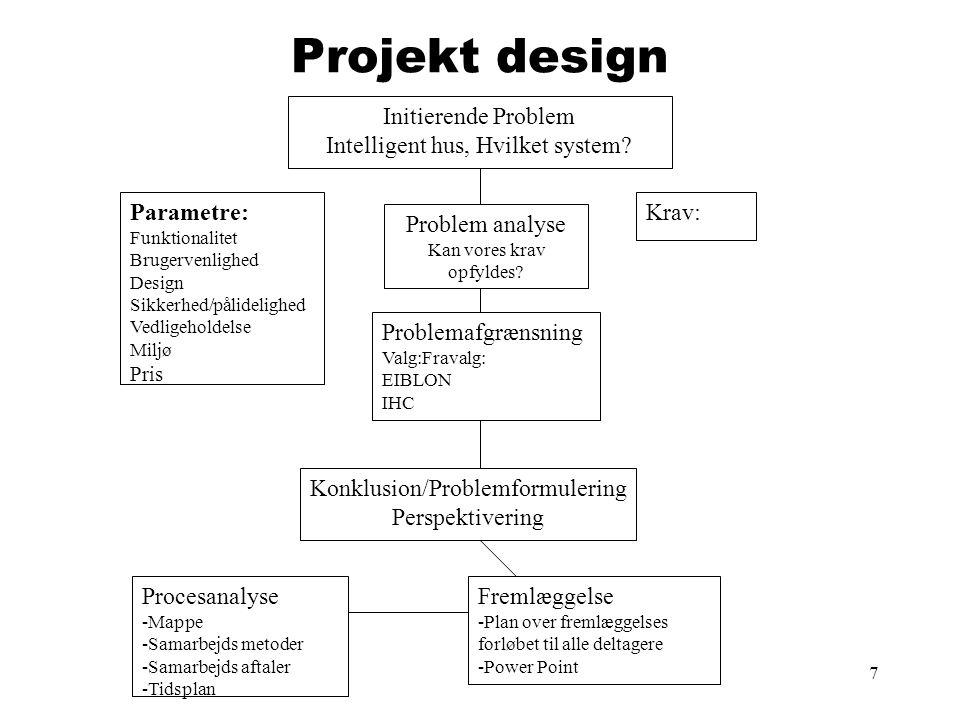 Projekt design Initierende Problem Intelligent hus, Hvilket system