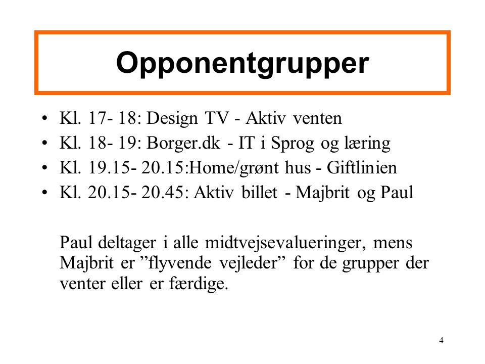 Opponentgrupper Kl. 17- 18: Design TV - Aktiv venten