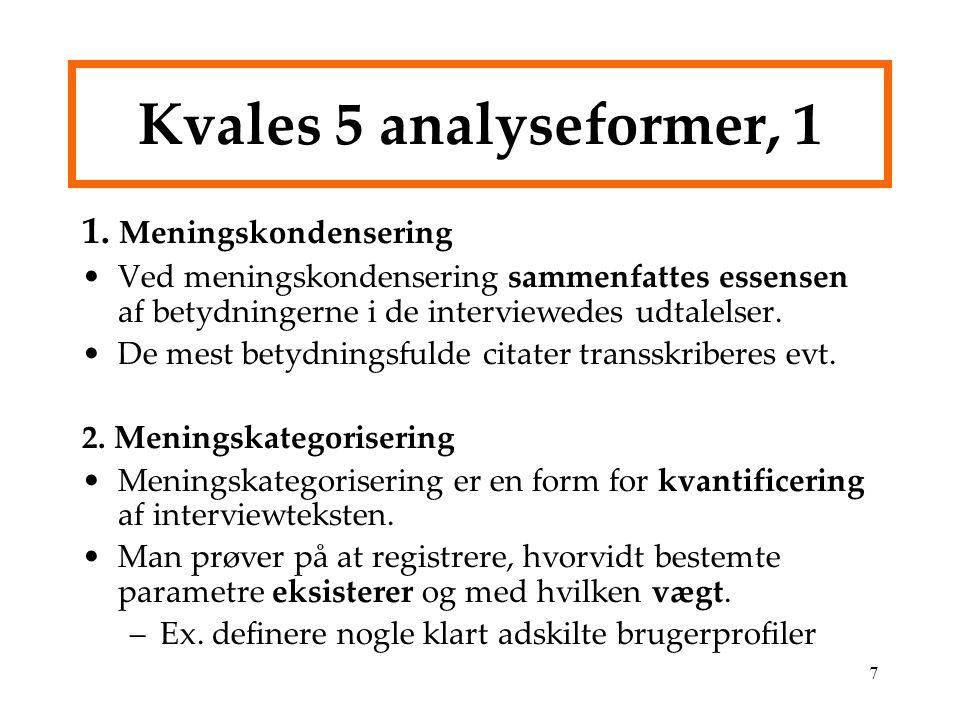 Kvales 5 analyseformer, 1 1. Meningskondensering