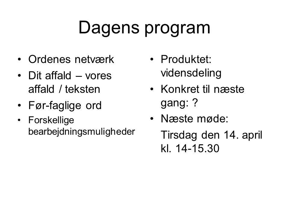 Dagens program Ordenes netværk Dit affald – vores affald / teksten