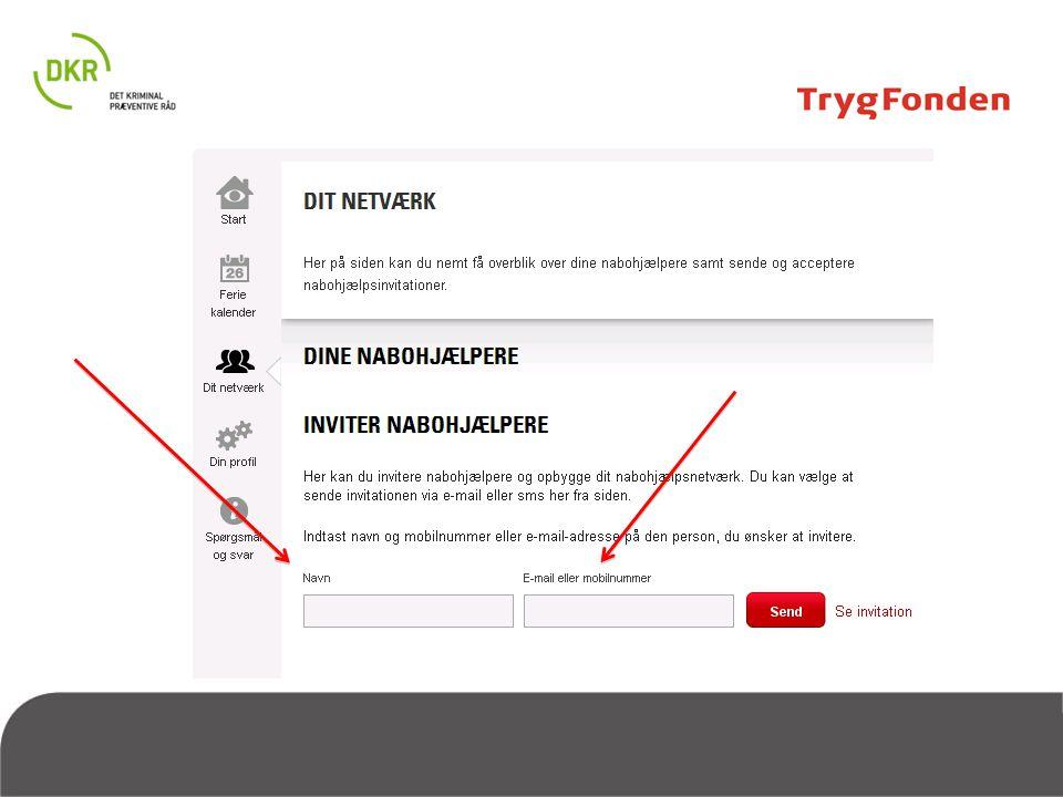 Når du er tilmeldt Nabohjælp, og du gerne vil bruge systemet til at planlægge nabohjælp, så skal du invitere dine naboer ved at sende dem en sms/email via systemet. På den måde bliver I tilknyttet hinandens profiler og kan dele ferieoplysninger eller sende hinanden advarsler om indbrud etc.