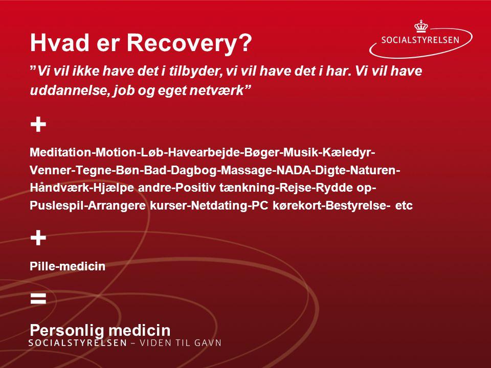 + = Hvad er Recovery Personlig medicin