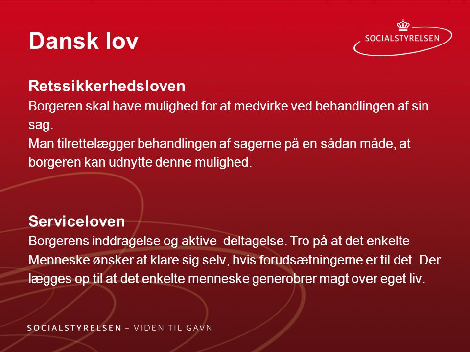 Dansk lov Retssikkerhedsloven Serviceloven