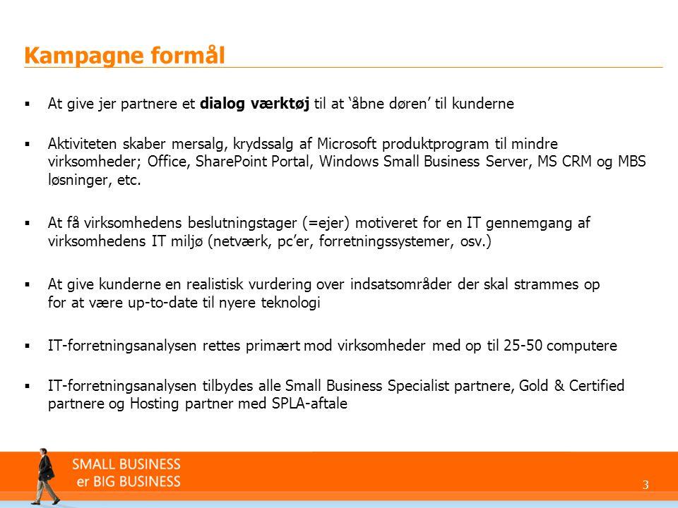 Kampagne formål At give jer partnere et dialog værktøj til at 'åbne døren' til kunderne.