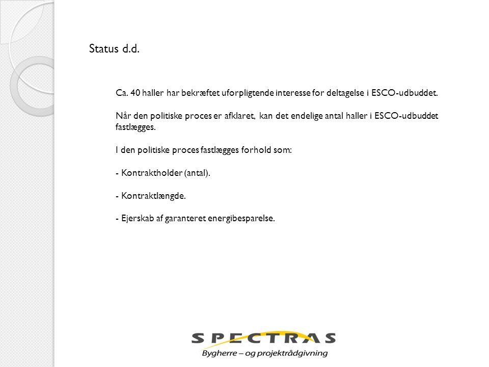 Status d.d. Ca. 40 haller har bekræftet uforpligtende interesse for deltagelse i ESCO-udbuddet.