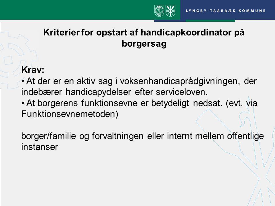 Kriterier for opstart af handicapkoordinator på borgersag