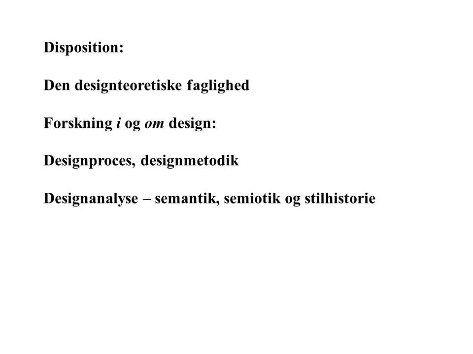 Disposition: Den designteoretiske faglighed. Forskning i og om design: Designproces, designmetodik.