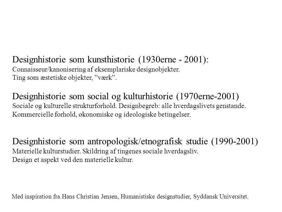 Designhistorie som kunsthistorie (1930erne - 2001):