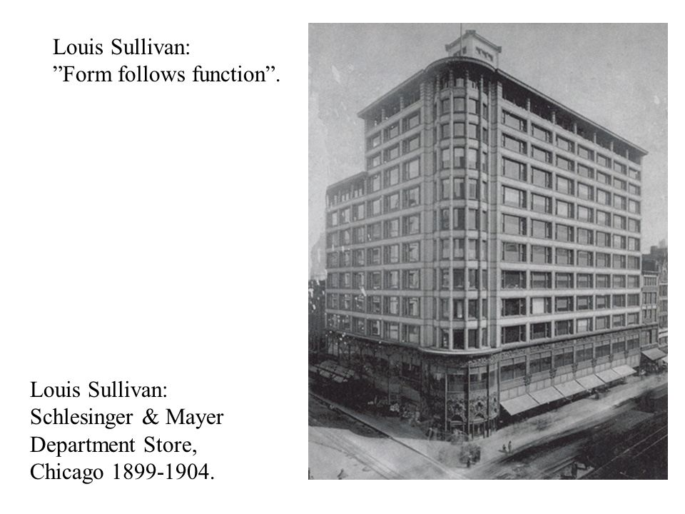 Louis Sullivan: Form follows function .