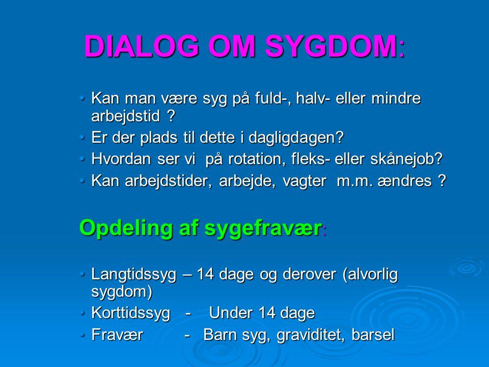 DIALOG OM SYGDOM: Opdeling af sygefravær: