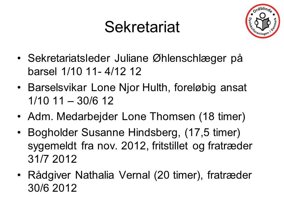 Sekretariat Sekretariatsleder Juliane Øhlenschlæger på barsel 1/10 11- 4/12 12. Barselsvikar Lone Njor Hulth, foreløbig ansat 1/10 11 – 30/6 12.