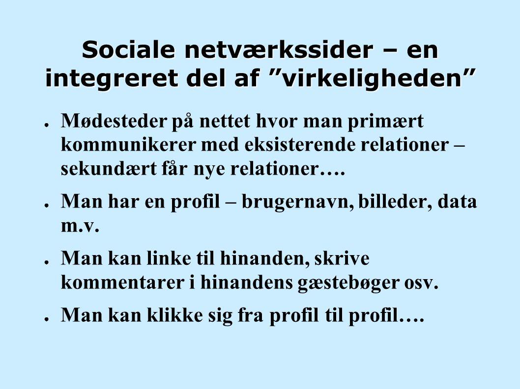 Sociale netværkssider – en integreret del af virkeligheden