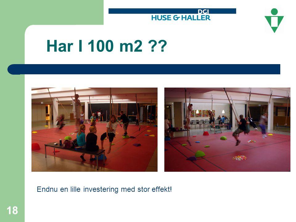 Har I 100 m2 18 Endnu en lille investering med stor effekt! 18