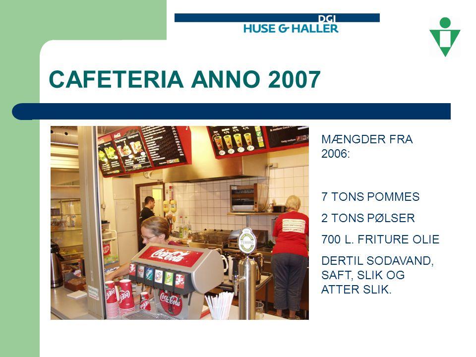 CAFETERIA ANNO 2007 MÆNGDER FRA 2006: 7 TONS POMMES 2 TONS PØLSER