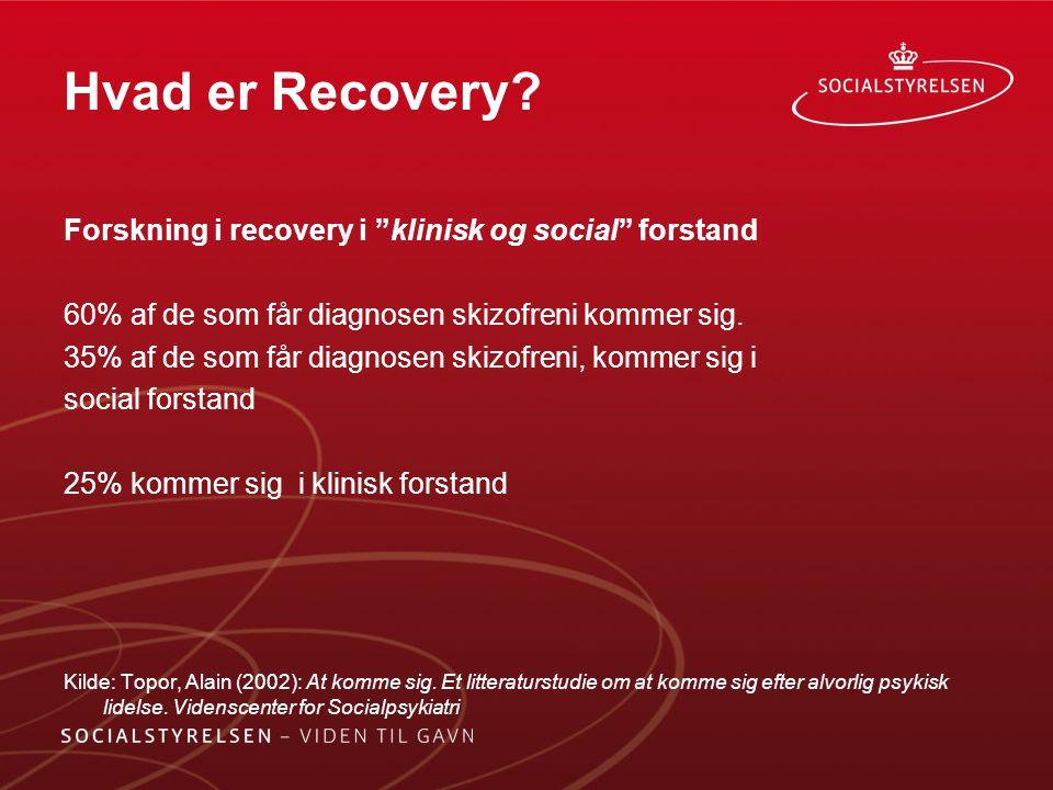 Hvad er Recovery Forskning i recovery i klinisk og social forstand