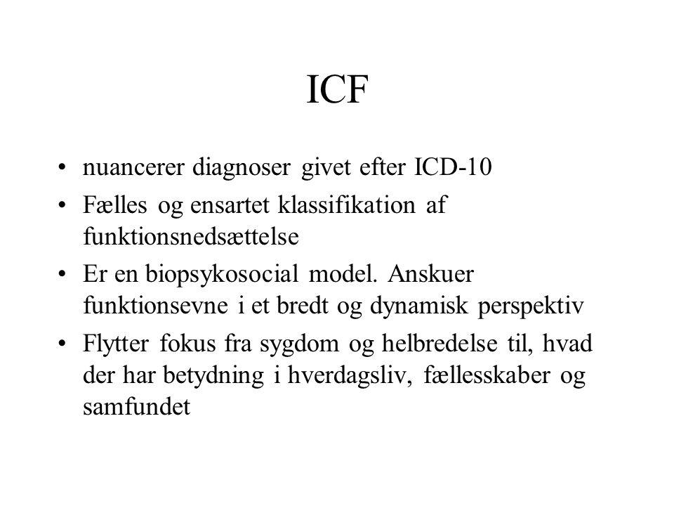 ICF nuancerer diagnoser givet efter ICD-10